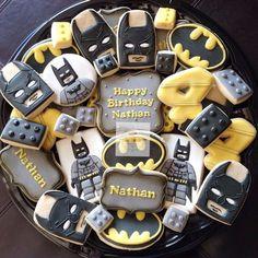 NatSweets - Batman Decoration - Ideas of Batman Decoration - Lego Batman cookies Lego Batman Party, Fiesta Batman Lego, Lego Batman Cakes, Lego Batman Birthday Cake, Batman Cookies, Superhero Cookies, Superhero Birthday Party, Boy Birthday Parties, 5th Birthday