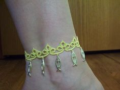 yellow anklet tatted anklet lace anklet charm anklet by MamaTats