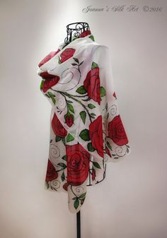 Red  Roses- Hand painted silk scarf - roses silk scarf - flower scarves - romantic roses - valentines's day