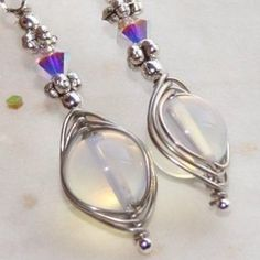 SPECIAL! Genuine Opalite Stone Earrings w AB Crystal Wire Wrapped Earrings by Maru Jewelry Design