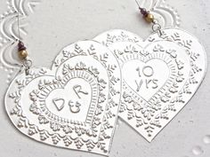 10th Wedding Anniversary Ornament, Metal Hearts Custom Anniversary Gift for Couples