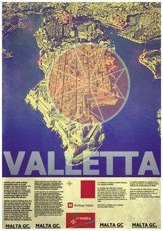 A reto travel poster for Valletta, Malta.