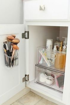 Bathroom cabinet organizers to keep your bathroom cabinets pretty and organized. Bathroom Cabinet Organization, Organized Bathroom, Cabinet Organizers, Ikea Bathroom, Boho Bathroom, Master Bathroom, Bathroom Lighting, Shiplap Bathroom, Small Bathroom Cabinets