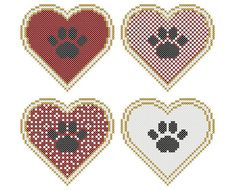 Set of Four PAW PRINTS on the HEART Cross Stitch Charts - each 3.25 x 3 in
