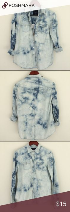 American Eagle tie-dye western denim shirt AEO western tie-dye denim shirt. Size small. Snap buttons. Worn twice. American Eagle Outfitters Tops Button Down Shirts