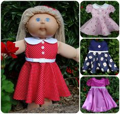 New 18 1/2 inch Cabbage Patch doll clothes pattern - 50's Vintage Dress. PDF pattern comes with step-by-step video instructions.