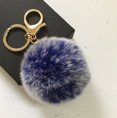 New Frosted blue Fur pom pom keychain fur ball bag by YogaStudio55