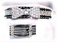 rhinestone dog collar with clear crystal bowtie and black and white stripe collar design