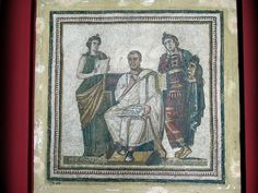 A century AD mosaic in the Musée National du Bardo in Tunis, Tunisia, depicts the Latin poet Virgil flanked by two muses. This is the only mosaic depiction of Virgil which has come down to us from antiquity. Carthage, Has Gone, Poet, Mosaic, Antiques, Painting, Antiquities, Mosaics, Paintings