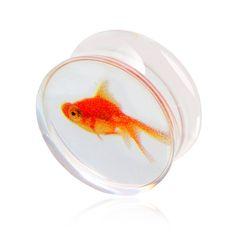 Golden Fish Design Clear Transparente Acrílico Enchufes y Túneles Del Oído Piercing Gauge Oído Del Ampliador Del Oído Pendiente de La Joyería Piercing Del Cuerpo