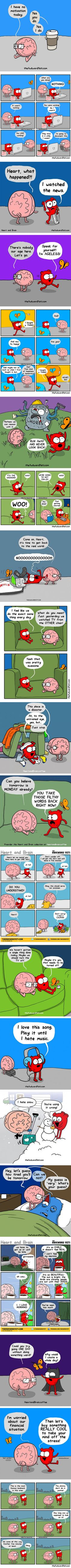 20 Comic Strips About the Eternal Struggle Between the Heart and Brain Cute Comics, Funny Comics, Funny Cartoons, Funny Memes, Funny Sarcasm, Funny Cute, The Funny, Hilarious, Heart And Brain Comic