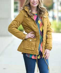 Another great find on #zulily! Mustard Faux-Fur Lined Coat #zulilyfinds