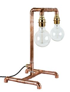 Copper Pipe Industrial Light Table Lamp E27 Rustic Desk Lamp