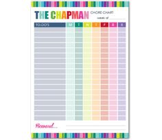 Personalised Chore Chart - order and personalise online at www.macaroon.co.za Kids Labels, Personalized Stationery, Teacher Gifts, Party Invitations, Gift Tags, Holiday Cards, Calendar, Chart, Gift Ideas