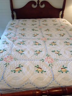Vintage White chenille bedspread Floral Pinks, Yellow , Blue