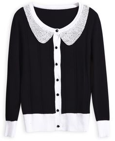 Black Contrast Peter Pan Collar Long Sleeve Cardigan -