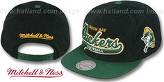 Packers '2T TAILSWEEPER SNAPBACK' Black-Green Hat by Mitchell & Ness : may be pictured without stickers that these products are shipped with