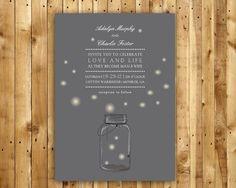 Mason Jar Wedding Invitation DIY Digital Printable PDF and matching RSVP postcard. $40.00, via Etsy.