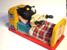 1950s Vintage Teddy Bear Alarm Clock Toy by austroantiques on Etsy, $59.99