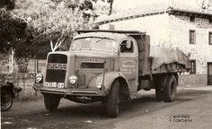 """Camión aleman perteneciente a la """"Legión Condor"""" utilizado durante la 2ª guerra mundial (años 40) para transporte de Wolframio de Salamanca a Canfranc (Huesca), donde mineral era embarcado en trenes con destino a Alemania. llevaban remolque. Al camión se le cargaba con 10 Tn y al remolque también, total 20 Tn de Wolframio utilizado para blindaje de carros de combate, los famosos Panzers, cañones de artillería...). el MAN tiene la cabina transformada. Originalmente las cabinas eran cuadradas"""