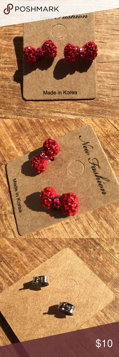 """""""Hello Kitty"""" Inspired Bow Earrings - NWT Adorable rhinestone studded earrings that look just like Hello Kitty's bow. Jewelry Earrings"""