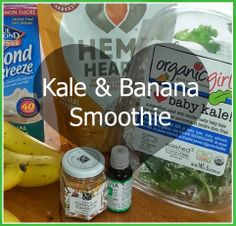 ~Kale & Banana Smoothie~ This fun & delicious smoothie could quickly become a staple around your house! #drinks #healthy #eating