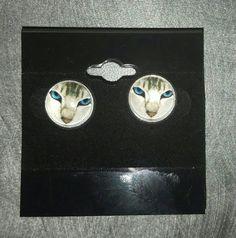 Kitty Stud Earrings by MyCatsAreStupid on Etsy Cat Face, Etsy Earrings, Stupid, Kitty, Cats, Pictures, Gatos, Photos, Kitten
