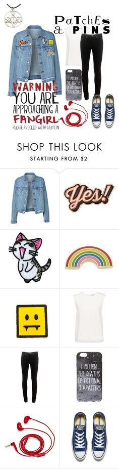 """""""Fangirl Fashion"""" by love2sagittarius ❤ liked on Polyvore featuring Anya Hindmarch, Georgia Perry, Finders Keepers, rag & bone, FOSSIL, Converse and patchesandpins"""