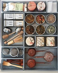 Martha's Top Kitchen Organizing Tips Tea Supplies Be ready to make the perfect pot with strainers, tea balls, honey dippers, & special tea leaves all in one drawer.I did this years ago & it is wonderful.I love drawers that pull out so I can see everyth Kitchen Organization, Organized Kitchen, Organization Ideas, Storage Ideas, Kitchen Storage, Storage Solutions, Garden Organization, Workshop Organization, Tea Party