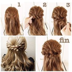 #hairarrenge * ロープ編みハーフアップ * #アレンジ解説 * ①耳上3㎝幅程度の髪を残してトップをゴムで結びます * ②束ねた髪のすぐ下をサイドから結び目に向かってロープ編みこみ(ロープ編みでも可)をしてゴムの横2㎝くらいの所にピンでとめます * ③反対側も同様にします * 髪を所々引き出し、おろした髪をアイロンで巻いて出来上がりです♪ ☆モデルさんのヘアはロープ編みを2本にしています(*^^*) * #hair#hairstyle#hairset#hairmake#ヘア#ヘアアレンジ#アレンジヘア#ヘアスタイル#ヘアメイク#ヘアセット#ハーフアップ#ヘアアレンジ解説#簡単ヘア#簡単ヘアアレンジ#ロープ編み