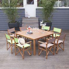 Salon de jardin 8 places Acacia gris : 1 table extensible 150 ...