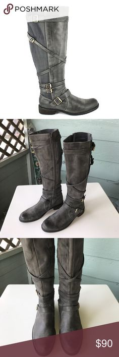⚡️FLASH SALE⚡️Miz Mooz riding boots Awesome Kira style Miz Mooz riding boots. Gray leather, faux fur lining, low heel with elastic and belt details. excellent condition. Miz Mooz Shoes Combat & Moto Boots