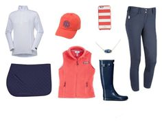 """""""Navy and coral preppy hack"""" by thepreppypony on Polyvore featuring Vineyard Vines, Kendra Scott, Kate Spade, Hunter, preppy, horses and equestrian"""