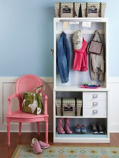 Entryway organization    Bookcase with a set of drawers to organize small items and put wire cooling racks on a plastic mat to put shoes on.  Attach hooks on side to store keys.