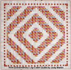 "Grandpa's Log Cabin quilt - Extraordinary Log Cabin Quilts, 2013. The book is due out in the fall of 2013. Designed and pieced by Judy Martin. Quilted by Lana Corcoran. The pattern can be easily strip pieced. 96"" x 96"" Alternate size of 56"" x 56"" also presented."