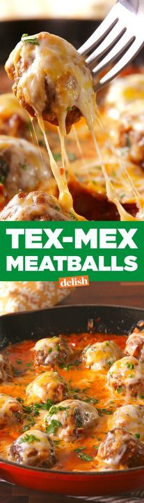 These Tex Mex Meatballs turn dinner into a fiesta. Get the recipe from Delish.com.