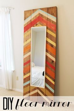 DIY Mirrors - DIY Full Length Floor Mirror - Best Do It Yourself Mirror Projects and Cool Crafts Using Mirrors - Home Decor, Bedroom Decor and Bath Ideas - Step By Step Tutorials With Instructions http://diyjoy.com/diy-mirrors