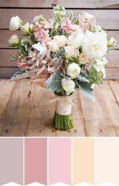 Blush pink rustic bouquet  // www.onefaaday.com Blush Pink Wedding Dress, Spring Wedding Bouquets, Wedding Brooch Bouquets, Wedding Dresses With Flowers, Blush Pink Weddings, Blush Wedding Flowers, Wedding Colours, Rustic Bouquet, Rustic Bridal Bouquets