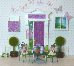Purple glitter Opening Fairy Door Set plus accessories. Australian made Opening Fairy Doors, Fairy Door Accessories, Door Sets, Purple Glitter, Beautiful Hands, Fairies, Pink, Handmade, Crafts