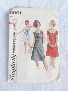 1960's Vintage Empire Waist Dress Pattern by MyVintageHatShop