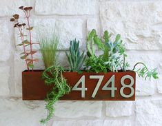 Mid-Century Succulent Wall Trough Planter & Address Plaque - Rust Planter w/ (4) Brushed Aluminum Address Numbers (Free Shipping) by UrbanMettle on Etsy https://www.etsy.com/listing/195087905/mid-century-succulent-wall-trough