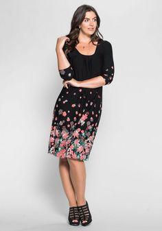 sheego Style Jerseykleid, ; für 49,99€. Rundhalsausschnitt mit Falten, 3/4-lange Ärmel, 3/4-lange Ärmel, Weiche, elastische Viskose-Qualität bei OTTO