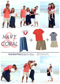 Family Photos: What to Wear (navy & coral) Great ideas for family photo outfits and poses! Family Photos: What to Wear (navy & coral) Great ideas for family photo outfits and poses! Summer Family Pictures, Beach Family Photos, Beach Photos, Family Pics, Family Pictures What To Wear, Beach Picture Outfits, Family Picture Outfits, Beach Outfits, Casual Outfits