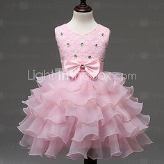 Girl's Blue / Pink / Red / White / Beige Dress,Bow Polyester Summer - USD $19.99