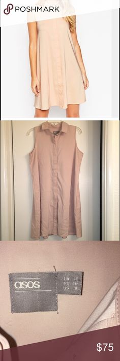ASOS Sleeveless Shirt Dress NWOT.  Perfect dress for summer!  Beautiful color and soft material. ASOS Dresses Mini