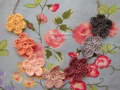 crochet flower necklace.