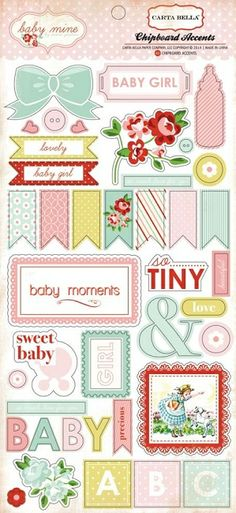 "Carta Bella - Baby Mine Girl Collection by Carina Gardner - 6""x12"" Chipboard Accents,$3.99"