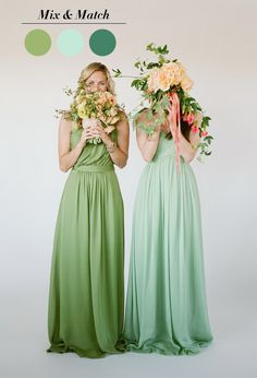 shades of green mismatched bridesmaid dresses ideas