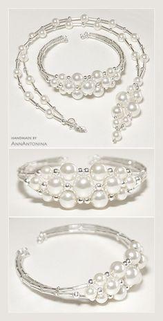bransoletka na drucie pamięciowym oraz naszyjnik w planach jeszcze kolczyki, ale zabrakło perełek... materiały: * szklane perły (nieidealnie białe, kremowe, od 6 do 10...