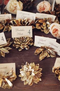 10 Whimsical Winter Wedding Seating Cards   Succulents are a wedding hit right now, but they aren't limited to just spring and summer. Painting them gold gives them that chic winter look.